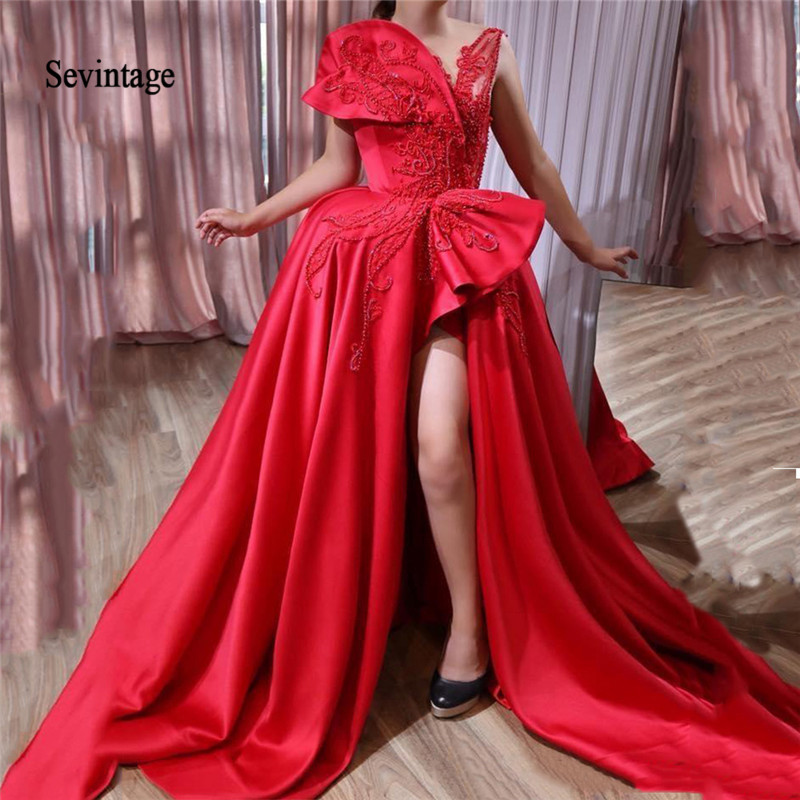 Sevintage Red Sexy Asymmetrical Beaded Evening Dresses Sweep Train African Prom Gowns Satin Formal Long Party Dress Robe Soiree