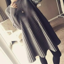 Autumn Winter Sweet Women Dress Knitted Thicken Sweater For 2019 Simple Solid Color Pleated High Waist Mini