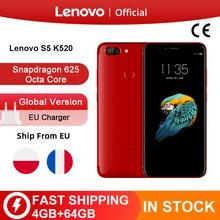 Globale ROM Lenovo S5 K520 4 GB 64 GB Snapdragon 625 Octa core 13MP Dual Hinten Cam 16MP Vorder Cam gesicht ID 4 K Smartphone