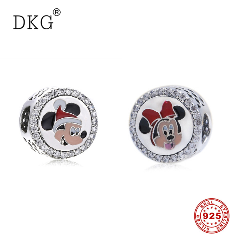 Authentic 100% 925 Sterling Silver Bead Original Fairy Tale Cartoon Mouse Charm Beads Fit DKG Bracelet DIY Jewelry