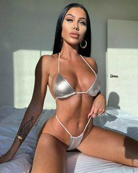 Traje de baño para mujer exótico Mini Bikini sujetador Micro Tanga ropa interior traje de baño de vacaciones doradas playa Bikini conjunto