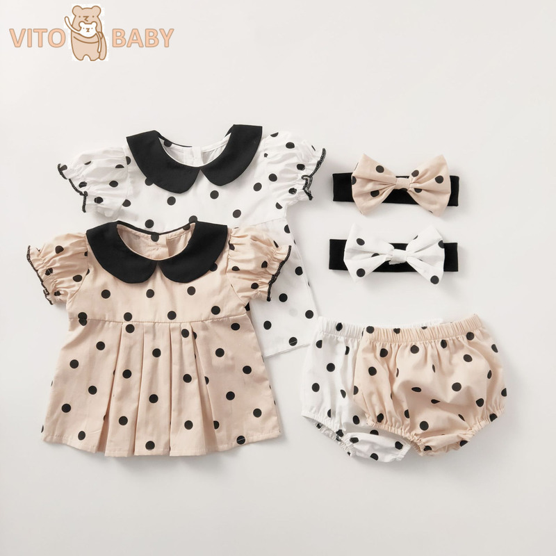 VITO Baby Newborn Baby Girls Clothes Boutique Cotton Sweet Polka-dot Headdress+T-shirt+Pants Outfits Toddler Jumpsuit Costume