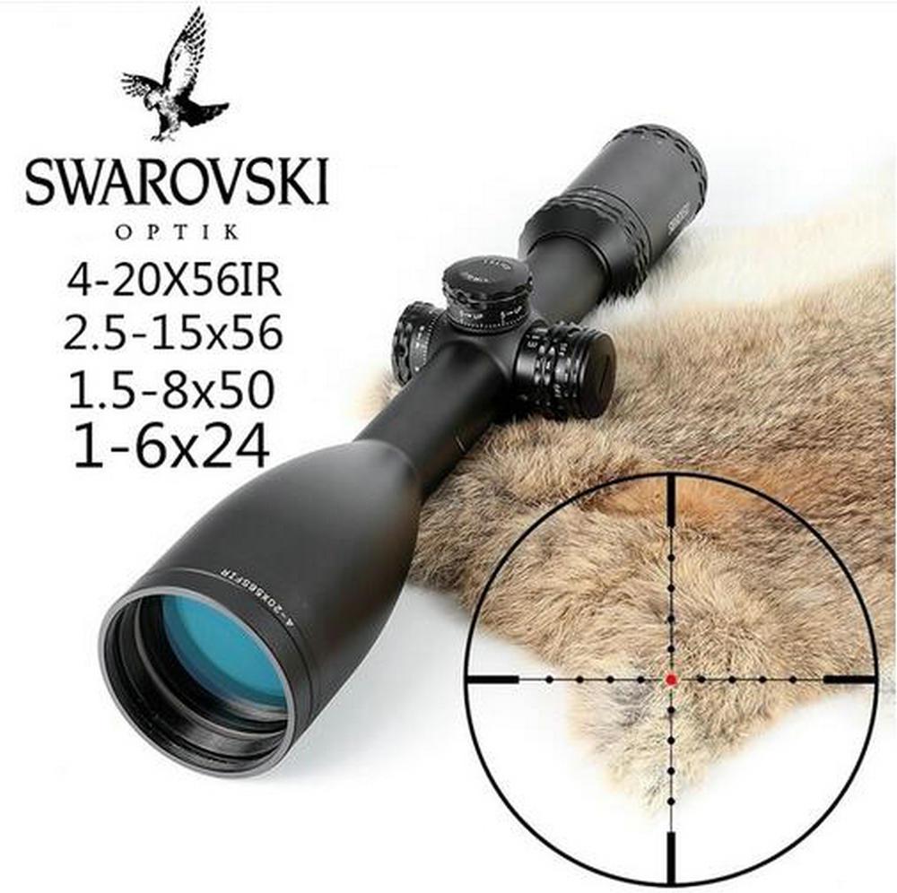 Swarovskl 4-20x56/2.5-15x56/1.5-8x50/1-6x24 tüfek cam Etched Reticle ile taret sıfırlama avcılık çekim tüfek kapsamları