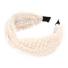 Elegant Women Lace Cross Knot Hair Band Girls Solid Color Headband Bezel Wide Mesh Hair Band Fashion Headwear Hair Accessories