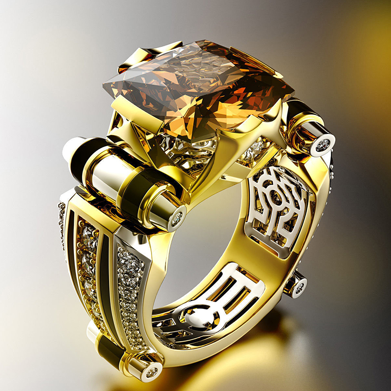 Classic Fashion Gold With Black Stone Men's Ring Steampunk Vintage Engement Lovly Wedding Gift Male Trendy Jewelry F3T377 image