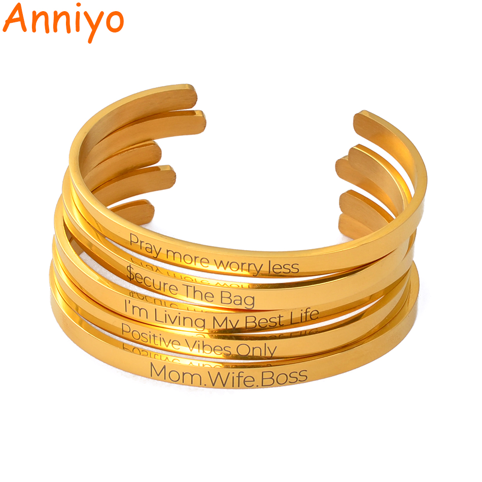 Anniyo Personalized Name Bracelets Cuff Bangles Women Girl Rose Gold/Gold Color Jewelry Customize Print Letter #112021