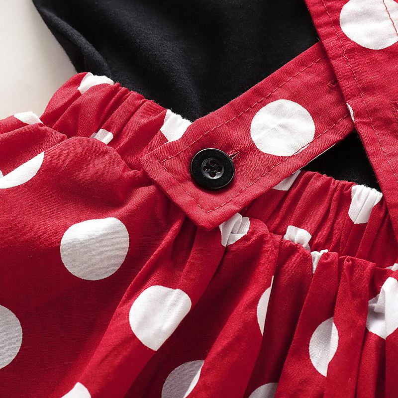 Polka Dot Girls Clothes Kids Clothes Set 2Pcs Summer Ruffle Sleeve Tops Bow Skirt Crew Neck Baby Girl Clothes 0 4 Years D35 in Clothing Sets from Mother Kids