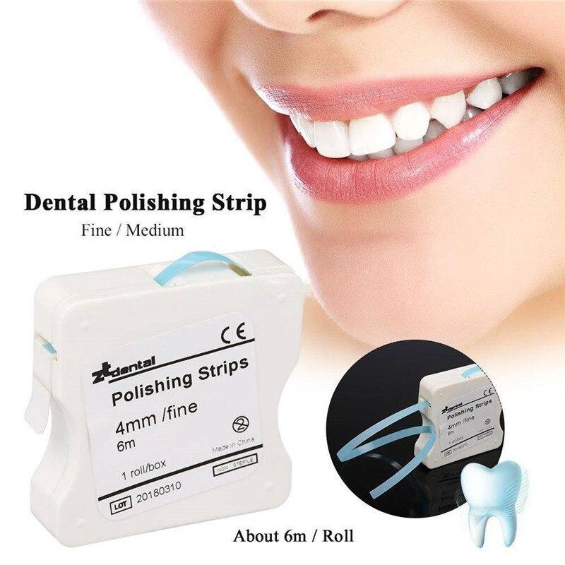 1Roll/box Dental Polishing Strip 4mm Resin Tooth Interdental Sanding Grinding Surface Teeth Whitening Length 6m Dentist Material