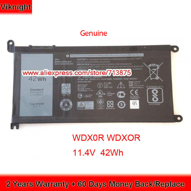 Original 11.4V 42Wh T2JX4 WDXOR WDX0R Battery for Dell Inspiron 13 5378 7368 13 5368 15 5567 5538 5568 7560 14 7000 7472