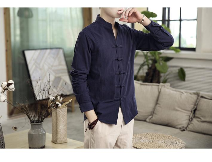 Image 3 - Button Collar Long sleeved Blouse Mens Shirt Chinese style Slim Linen Shirt for Mens clothing AutumnCasual Shirts   -