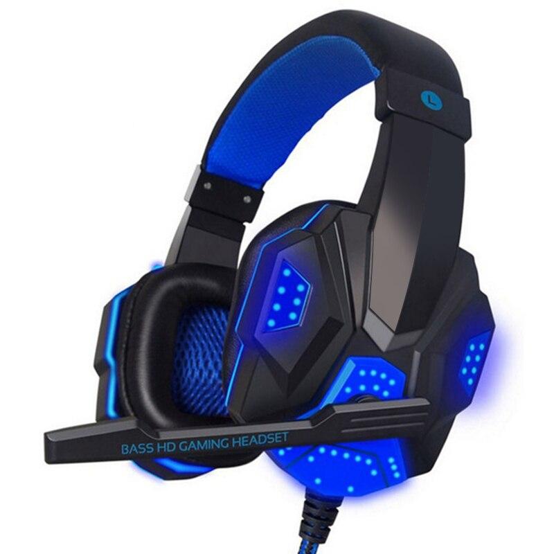 Auriculares con cable LED para videojuegos, auriculares estéreo con micrófono para ordenador, PC y jugadores|Auriculares y audífonos| - AliExpress