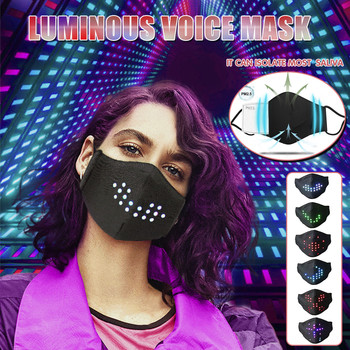 LED Voice-Activated Luminous Mask Hot Sale Fabric Face Mask Masquerade Festival Party Face Masks Windproof Breathable Masks#RU5 image