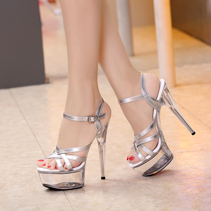 Platform Heels Sandals Open Toe PVC Transparent Pumps Women Shoes High Heels Ladies Shoes Silver Wedding Shoes Choenen Vrouw