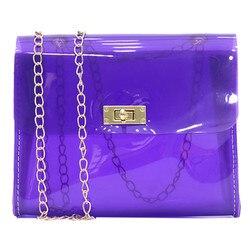Women Clear PVC Shoulder Bags Candy Color Female Jelly Bags Transparent Purse Laser Handbags sac a main femme Crossbody Bags