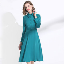 Ladies Dress Long Sleeves 2020 Spring Turn Down Collar Solid Color Slim Waistbelt A-Line Classy Dress Over The Knees M-XXL Cyan