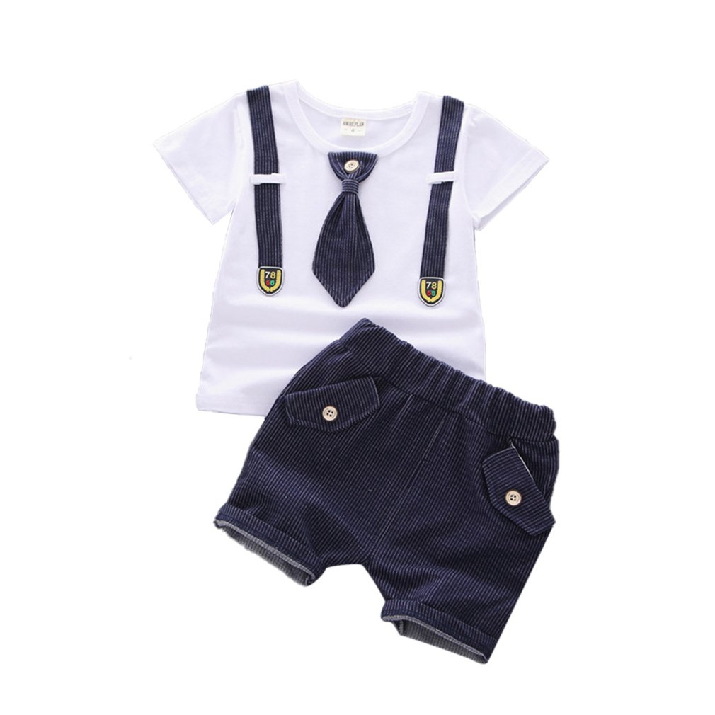 2pcs Toddler Kids Baby Boy T-shirt Tops+Shorts Pants Outfit Cotton Clothes Set