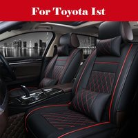 Black Luxury PU Leather Full Set Seat Cover Cushion For Car Interior Accessories For Toyota Ist