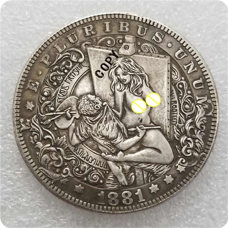 Type # 31_Hobo Nikkel Coin 1881-CC Morgan Dollar KOPIE MUNTEN-replica herdenkingsmunten