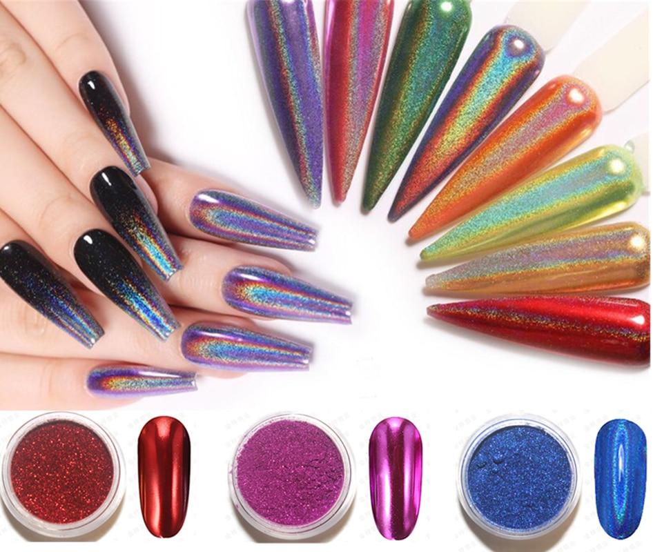 Блеск для ногтей, порошок для ногтей, мелкий Радужный зеркальный лазерный эффект, многохромовый маникюрный пигмент, блеск для пыли, для салона, домашнего дизайна ногтей Dec