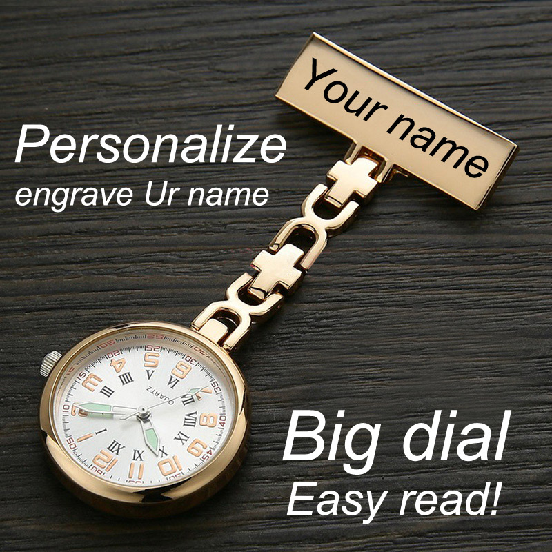 Personalized Customized FREE Name Engraved Rose Gold Pin Brooch BIG Dial Luminescent TOP QUALITY Lapel Midwife Nurse Fob Watch(China)