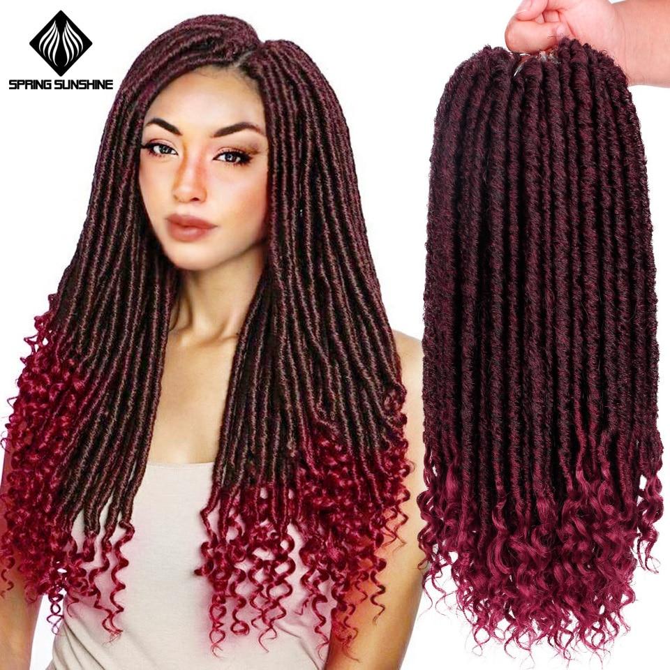 Spring Sunshine 1-10PC Goddness Locks Crochet Braids 16 20Inch Soft Synthetic Faux Locs Hair Extension 24Strands
