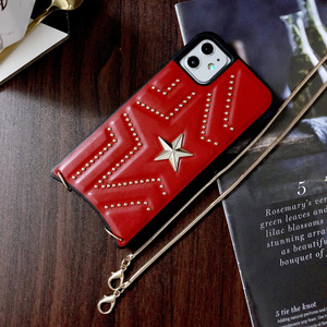 Image 5 - New PU Leather Studded Pentagram Fhx 11K Phone Case with Metal Chain for 7 8Plus X XS MAX XR Available for iPhone 11Pro MAX