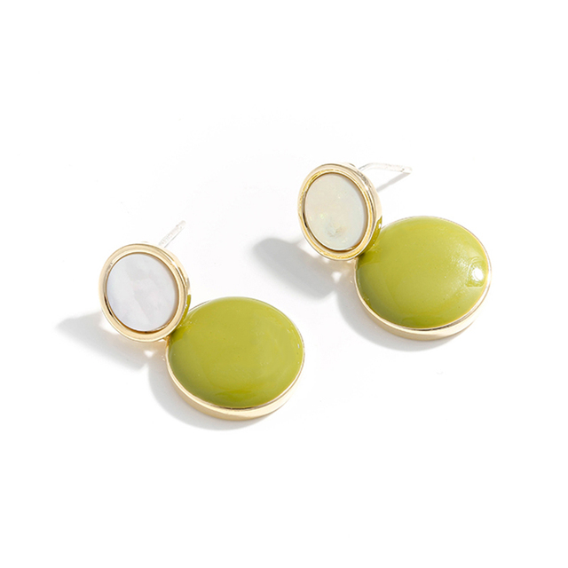 Yhpup Korean Minimalist Round Geometric Candy Colorful Dangle Earrings Enamel Statement Jewelry for Girl Women Party.jpg 640x640 - Yhpup Korean Minimalist Round Geometric Candy Colorful Dangle Earrings Enamel Statement Jewelry for Girl Women Party Office 2019
