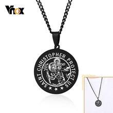 Vnox – colliers de Saint Christ pour hommes et femmes, pendentif rond en acier inoxydable noir, bijoux de prière Christ avec chaîne de 24 pouces