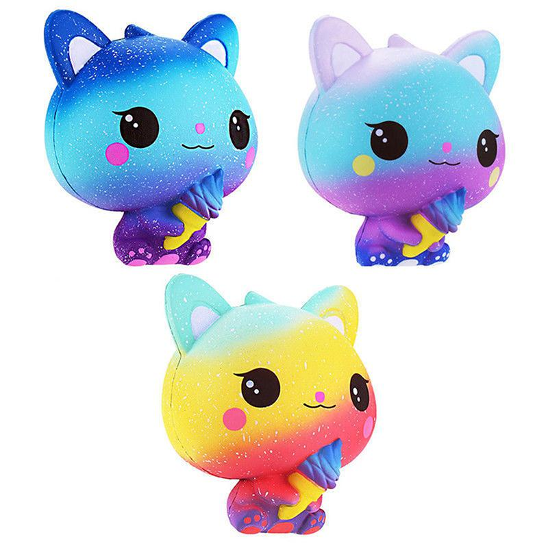 None Slow Rebound Simulation Ice Cream Cat Shape Squishy Toy For Kids