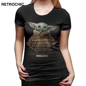Новые детские футболки с Йодой для малышей Женская футболка из 100% хлопка с принтом «Звездные войны» и «мандалорские войны» Женские повседн...