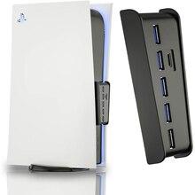 جديد PS5 USB Hub 6 في 1 USB الفاصل المتوسع محور محول مع 5 USB A + 1 USB C منافذ ل بلاي ستيشن 5 سوبر سرعة USB محول