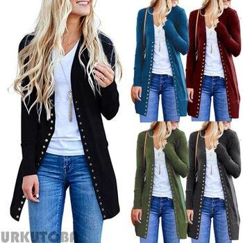 Women Sweater 2019 New Autumn Outwear Women Cardigans Vintage Solid Pockets Open Front Cardigan Sweater Button Down Outwear Coat