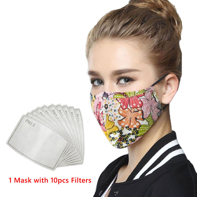 Wecan Cotton Reusable Mouth Face Mask Anti PM2.5 Dust Mask Mascaras With 10pcs Activated Carbon Filter Korean Black Fabric Masks