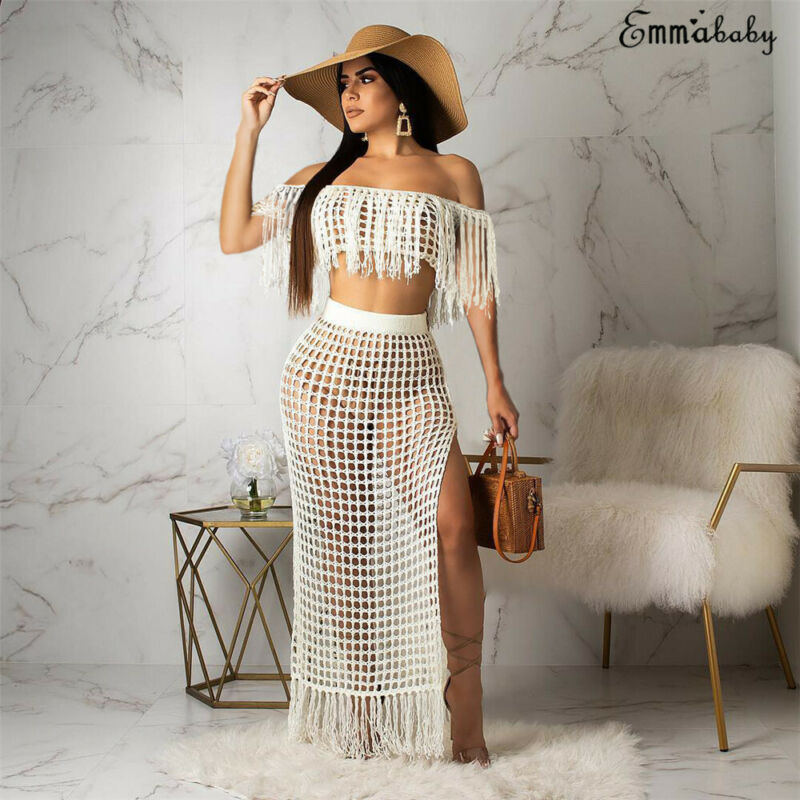Meihuida Women Fishnet Cover Up Suits See-through Hollow Off Shoulder Sleeveless Tassel Crop Top Skirts Sets Bathing Suit