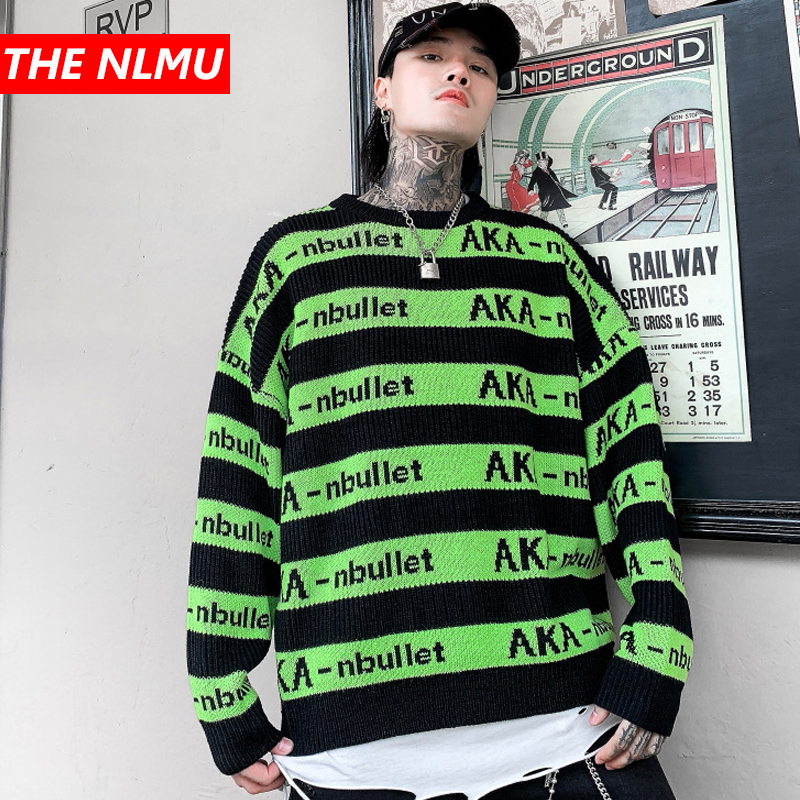 Harajuku Vintage Knitted Sweaters Men Hip Hop Striped Loose Pullover Sweater Streetwear Male Winter 2019 Clothing Coat WG596
