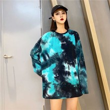 NiceMix Letter Tie Dye Graffiti Block Print Contrast T Shirt Tee T-Shirt Fashion Top Harajuku Streetwear Korean Women Man Loose mixed print contrast binding tee