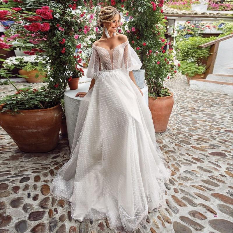 Verngo A Line Beach Wedding Dress 2020 Elegant Boho Wedding Gowns Half Sleeves Bridal Dress Vestido De Noiva Sereia