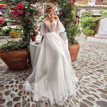 Verngo A line Beach Wedding Dress 2020 Elegant Boho Gowns Long Sleeves Bridal Vestido De Noiva Sereia