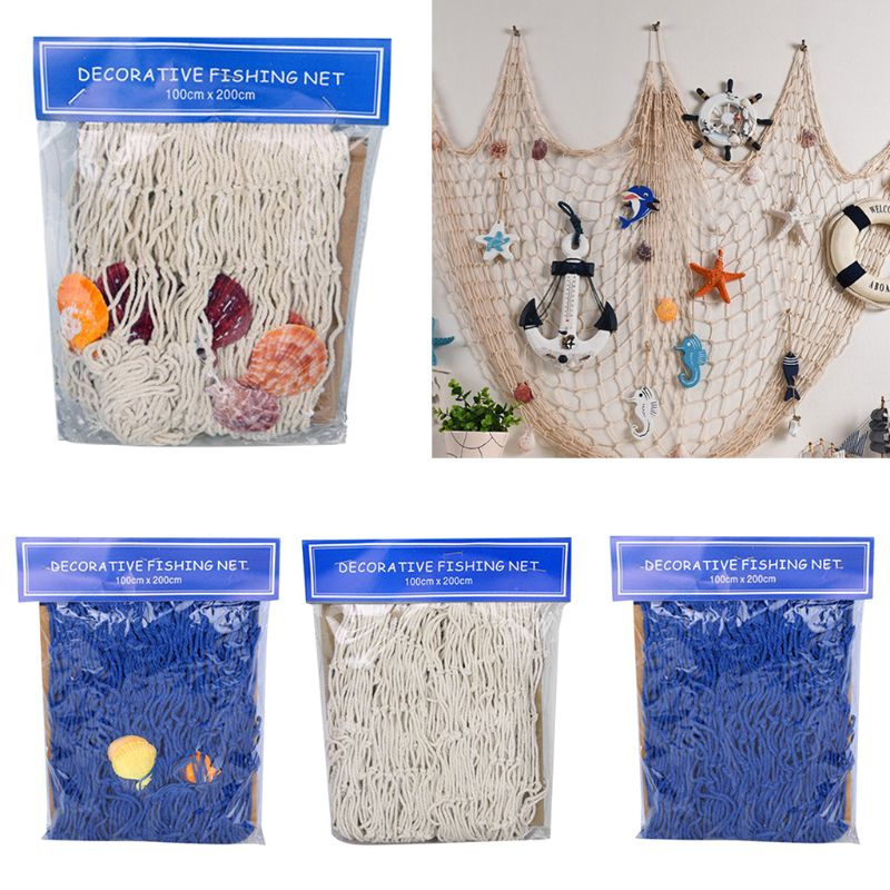 Mediterranean Style Handmade Woven DIY Fishing Net Seaside Wall Hanging Beach Theme Nautical Party Decoration Home Photo Props