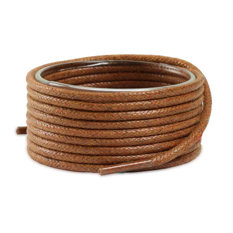 1 Pair Round Shoe Laces Leather Waterproof Shoelaces Waxed Cotton Solid Polyester Cotton Shoe Lace Unisex Leisure Shoelace