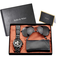 Luxury Quartz Men Watch Set Black Genuine Leather Key Package Sunglasses Birthday Gift Sets Men New Arrival 2020