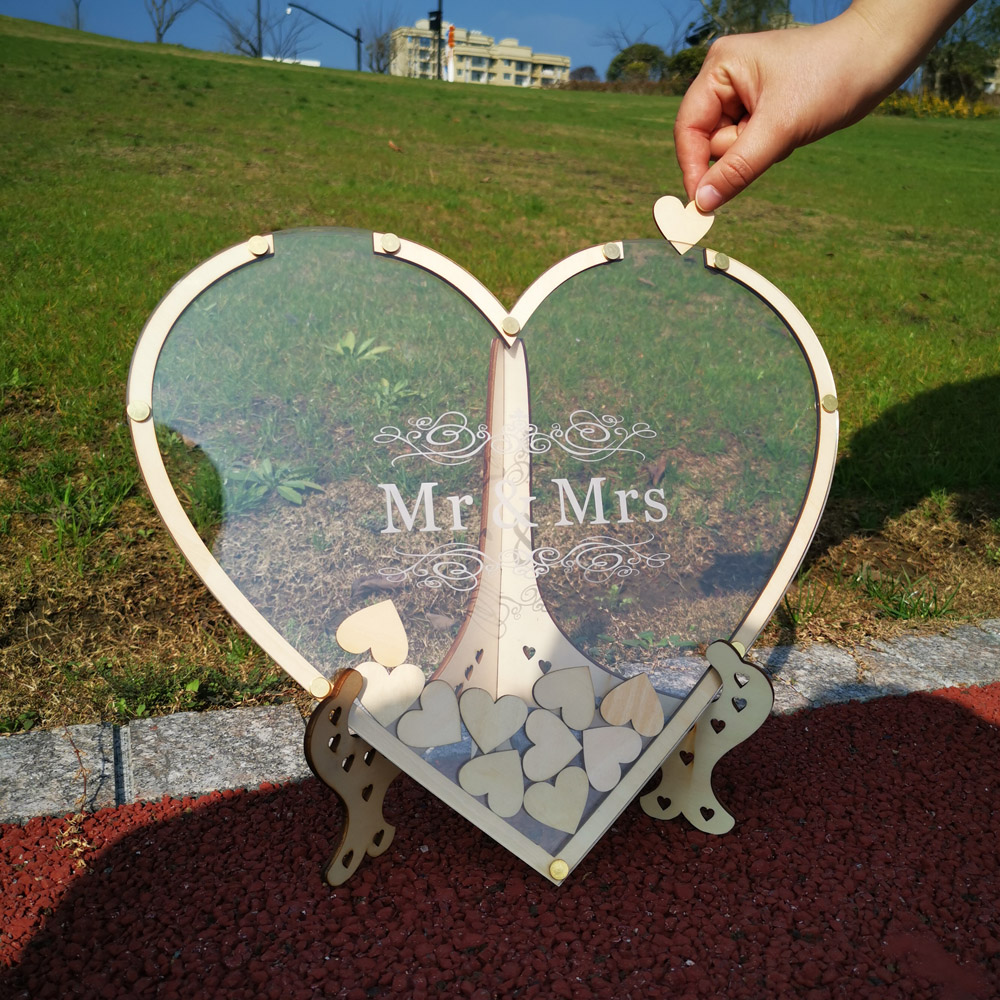 Hearts Unique Wedding Mr Mrs Guest Book Decoration Memory Guest Book Drop Box Signature Acrylic Guest Book Alternative