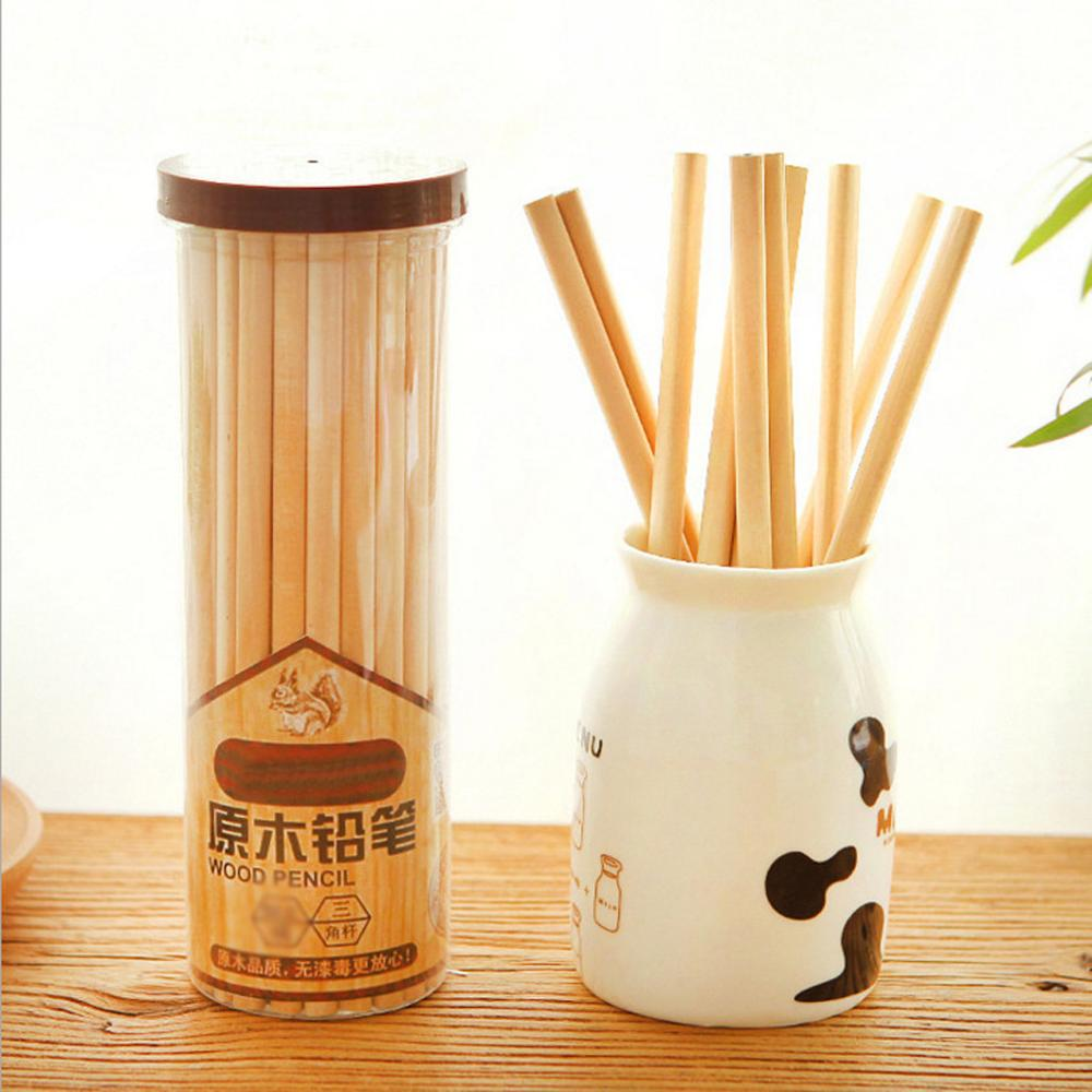30PCS Wooden Standard Pencil Log Three Angle Bar HB Pencil Writing Painting Smoothly Stationery For Students School Supplies