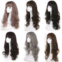 Yiyaobess 28inch Long Wavy Hair Synthetic Wig With Bangs Linen Brown Rattan Silver Grey Woman Wigs For Party High Temperature