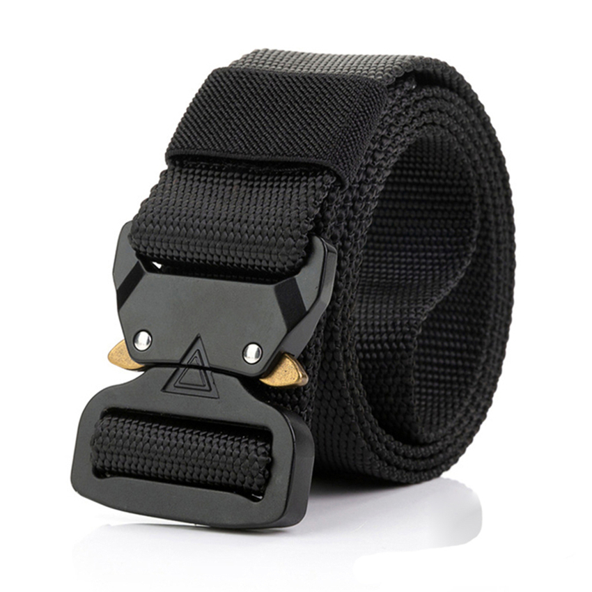 115-135 CM Canvas Belt Men Tactical Designer Army Belt For Trousers Cobra Triangle Design Metal Buckle Long Military Nylon Belts