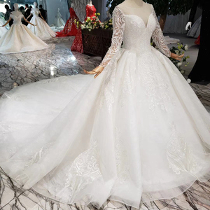 Image 3 - BGW HT562 europejski styl suknie ślubne z długim pociągiem Lace Up powrót luksusowa suknia ślubna 2020 New Fashion Design