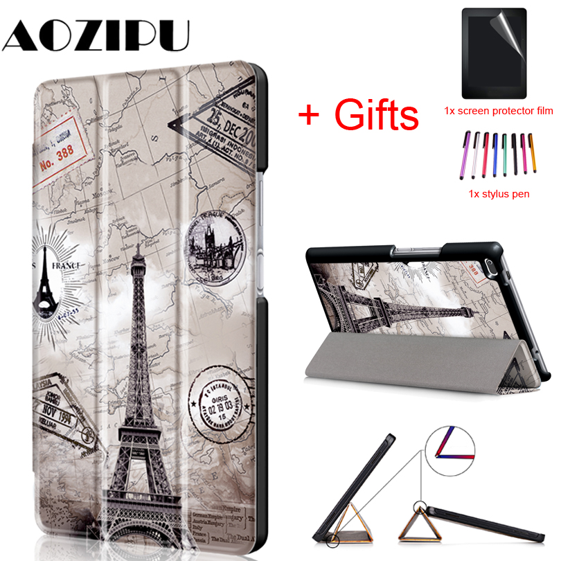 PU Leather Cover  For Lenovo Tab4 Tab 4 8 8504 TB-8504x 8504F 8504N 8inch Tablet Flip Magnet Smart Case Funda +Film+Pen
