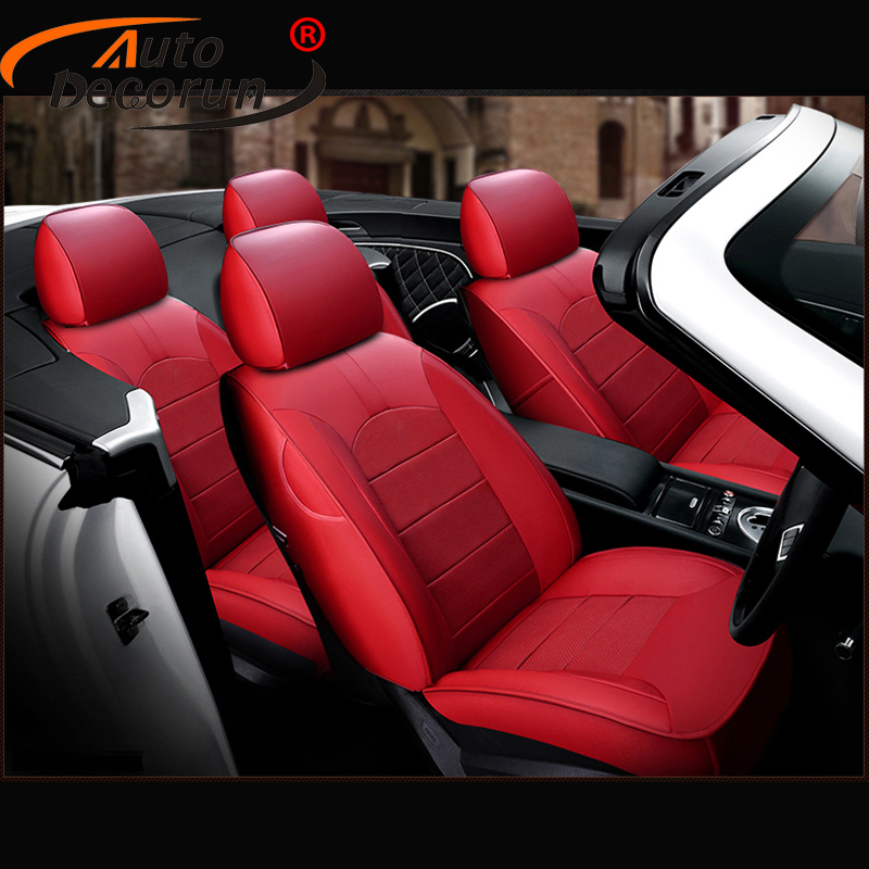AutoDecorun Custom Perforated Cowhide Car Seat Covers for Audi A4 B8 B7 B6 Seat Cover Genuine Leather Seats Cushion Accessories