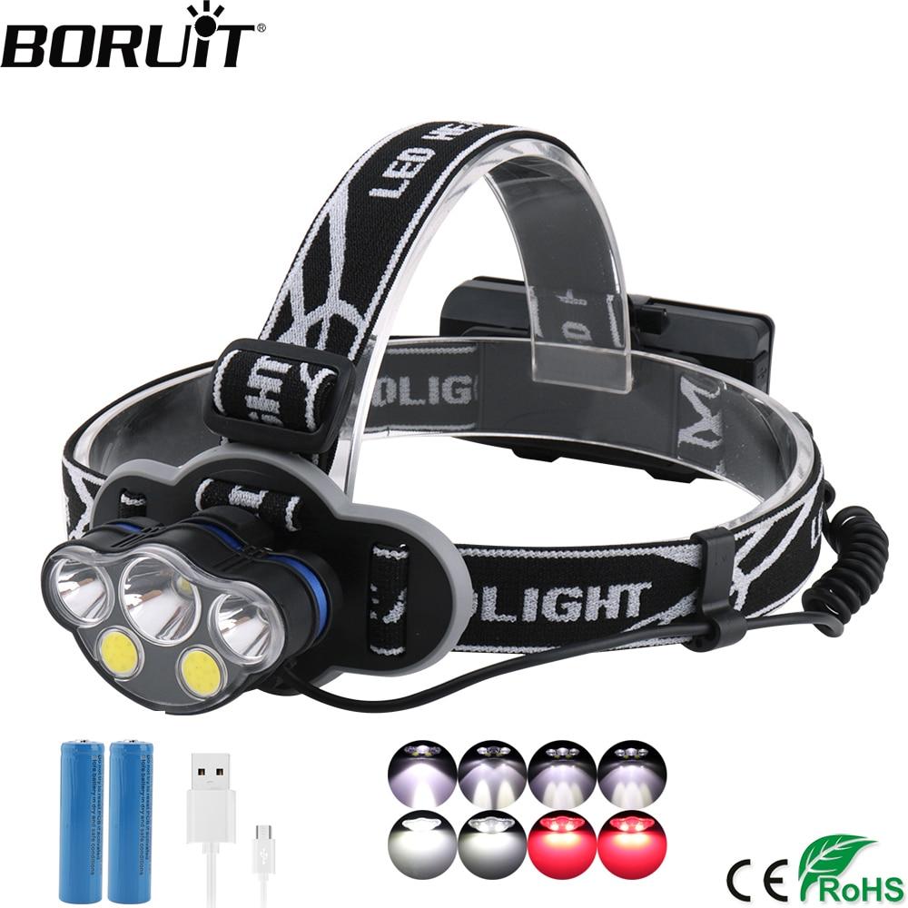 BORUiT KC05 HeadLamp T6+2*XPE+2*COB 8-Mode Headlight 18650 Rechargeable Head Torch High Power 20000LM Fishing Camping Flashlight