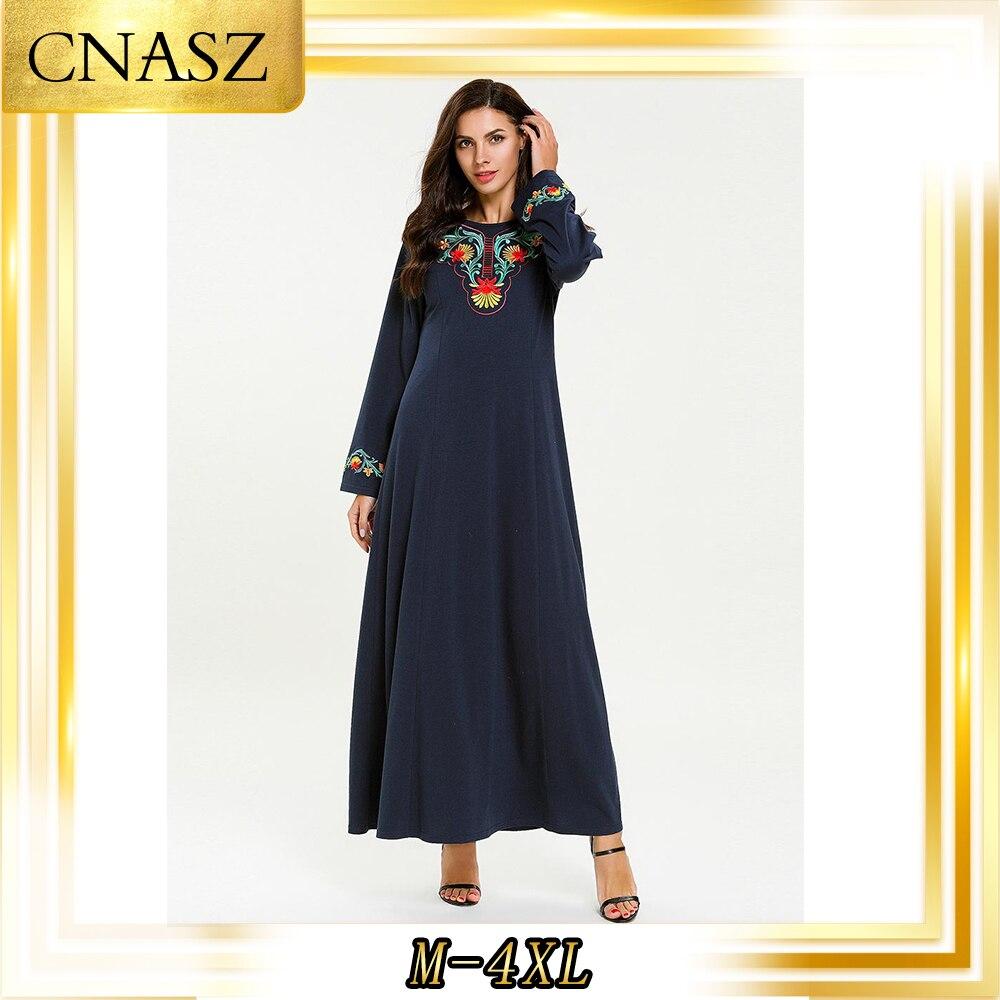 Abaya Turkish Large Size Women's Autumn Gown Fashion Simple Knit Embroidery Caftan Marocain Musulmane Femme Arabian Dress